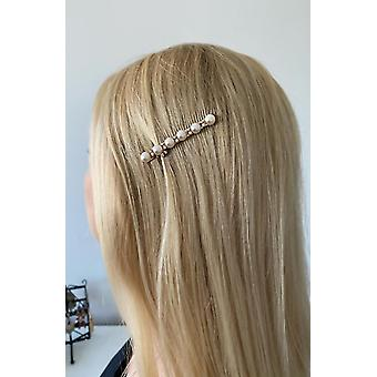 Hairpin with large beads and rhinestones