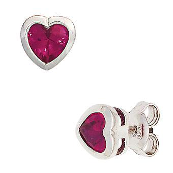 Kids stud earrings heart 925 silver 2 cubic zirconia red earrings kids earrings