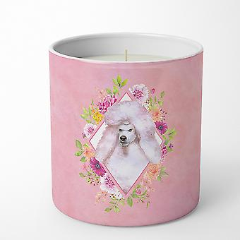Standard White Poodle Pink Flowers 10 oz Decorative Soy Candle