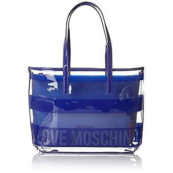 Love Moschino Bolsa Pu Trasp. Bolsas de Transperente Azul 9x29x40 cm (B x H T)