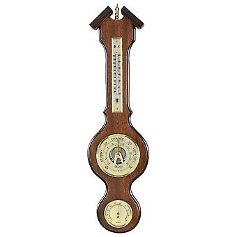 Woodford Veneered Barometer, Thermometer and Hygrometer - Brown/Bronze