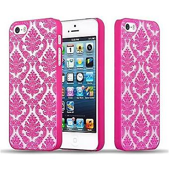 أبل اي فون 5 / اي فون 5S / اي فون SE حالة هاردسي في الوردي من قبل Cadorabo - الأزهار بيزلي الحناء تصميم حقيبة واقية - الهاتف حالة الوفير الغطاء الخلفي حالة