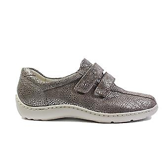 Waldläufer Joy Henni 496301 117 230 Taupe Leather Womens Rip Tape Casual Trainer Shoes