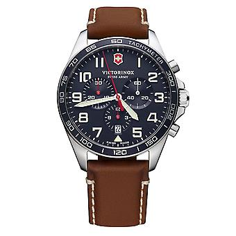 Victorinox Swiss Army FieldForce Chronograph Brown Leather Blue Dial Quartz Mens Watch 241854