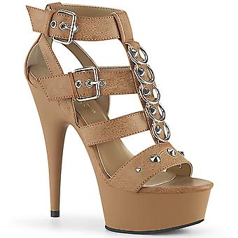 Pleaser Women's Schoenen DELIGHT-658 Taupe Faux Leather/Taupe Matte