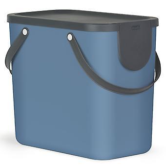 Système de tri des déchets Rotho Albula 25l pour la cuisine, plastique (PP) sans BPA, bleu/anthracite, 25l (40.0 x 23.5 x 34.0 cm)