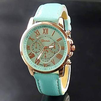Rose gold classic geneva watch in ocean mint