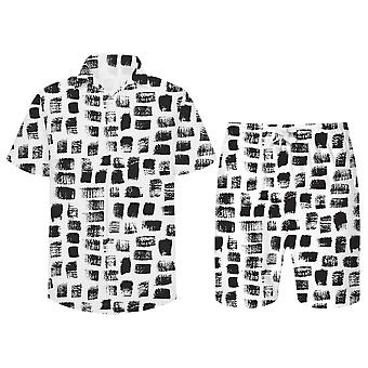 Allthemen Menăs 3D Black Squares 2-Pcs Shirt&Shorts