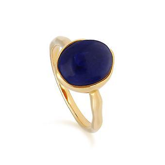 Irregular B Gem Lapis Lazuli Ring in Yellow Gold Plated Sterling Silver  270R057403925