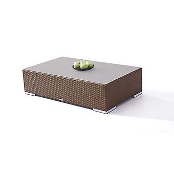 Polyrattan Cube table 125 cm - brun