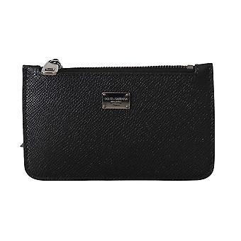 Dolce & Gabbana Black Coin Purse Chain Mini Hand Leather Pouch