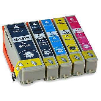 RudyTwos Replacement for Epson PolarBear Set Ink Cartridge Black Cyan Magenta Yellow & Photo Black Compatible with Expression Premium XP-510, XP-520, XP-600, XP-605, XP-610, XP-615, XP-620, XP-625, XP