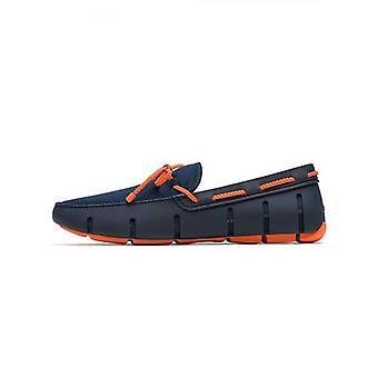 Zwemt Navy & Orange Gevlochten Kant Loafer