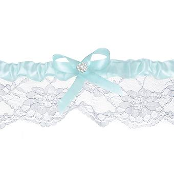 Sky Blue Ribbon Lace Wedding Garter with Bow