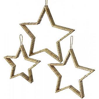 Ensemble d'étoiles suspendus de rattan de bambou