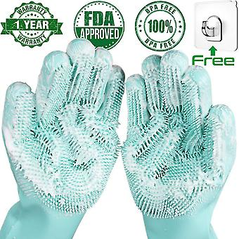 Magic Silicone Kitchen Cleaning Household  Dishwashing Scrubber Rubber Gloves