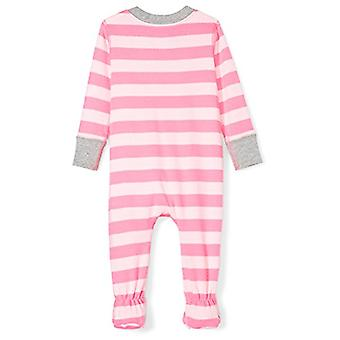 Moon and Back Girls' Organic Footed Zip-Front Sleep and Play, Pink/Multi Stri...