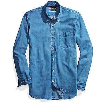 Goodthreads Męska&s Slim-Fit Jeansowa koszula z długim rękawem, średnio niebieski, XX-duży
