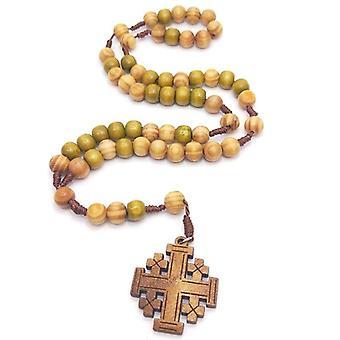يسوع حبات الصلاة الخشبية 10mm الوردية الصليب قلادة قلادة حبل المنسوجة