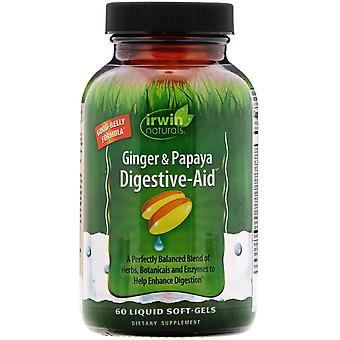 Irwin Naturals, Ginger & Papaya Digestive-Aid, 60 Liquid Soft-Gels