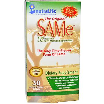 NutraLife, The Original SAM-e (S-Adenosyl-L-Methionine), 400 mg, 30 Enteric Coat