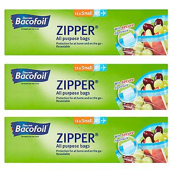 3 x Bacofoil all Purpose Zipper Resealable Bag 15 Small Sandwich Food Freezer