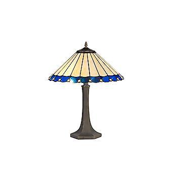 Luminosa-valaistus - 2 vaaleaa kahdeksankulmaista pöytävalaisinta E27 40cm Tiffany Shadella, sininen, kristalli, ikääntynyt antiikki messinki