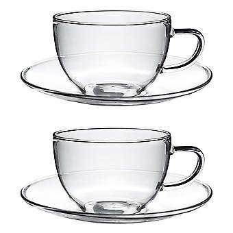 Klarglas Cappuccino / Tee / Kaffeetasse & Untertasse - 260ml (9,1 Unzen) - Packung mit 2