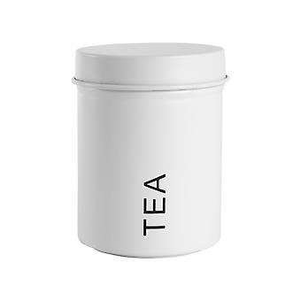 Vintage Tea Storage Canister - Metal Round Jar Hermético Sello - Blanco Mate