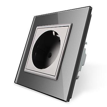 110~250v , 16a Eu Standard Glass Panel Power Socket