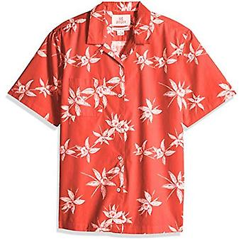 28 Palms Men's Relaxed-Fit 100% Cotton Tropical Hawaiian Shirt, Red/White Flo...