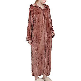 Women's long-sleeved winter warm nightdress, home wear and casual bathrobe