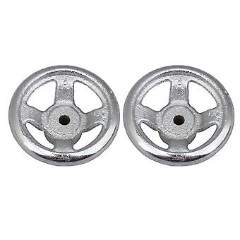 2 x Silver Four Spoke Round Iron Industrial Hand Wheel with 3inch Diameter