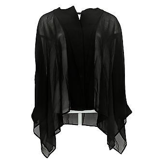 WynneLayers Women's Top Unstructured Chiffon Shirt Black  Black 711-819