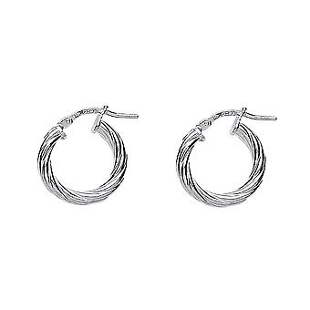Jewelco London Ladies Rhodium Plated Sterling Silver # Twisted Hoop Earrings 16mm 3mm