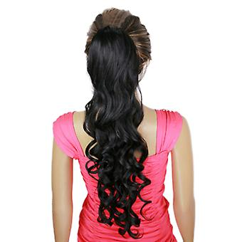 Long Curled Hair Wave Curl Elastic Button Horsetail