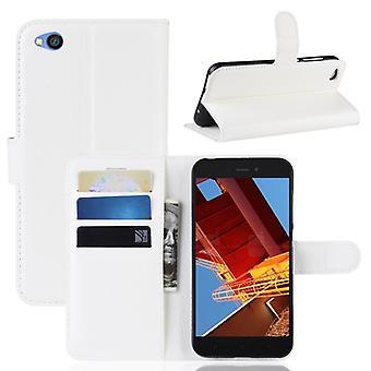 Litchi Texture Horizontal Flip Leather Case pour Xiaomi Redmi Go, avec Wallet & Titulaire & Fentes de carte (blanc)