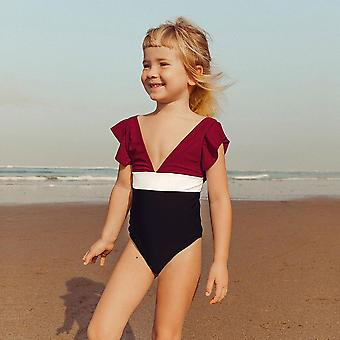 Girls V-neck One-piece Swimsuit- Bathing Suits 2-12 Years
