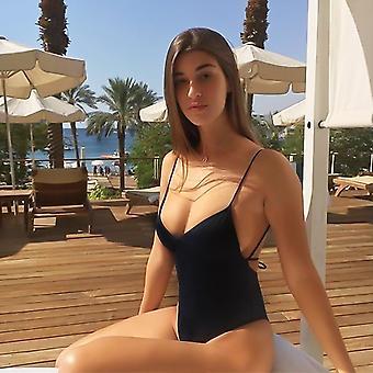 المرأة ملابس السباحة الصلبة مثير ضمادة 1 Pcs ملابس السباحة بلا ظهر الاستحمام البدلة bodysuit