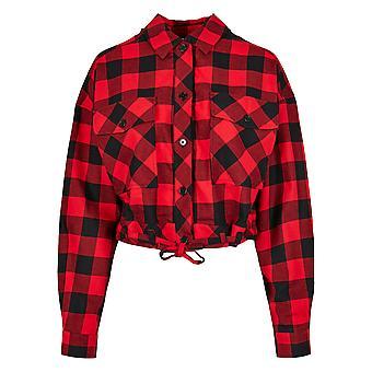 Urban Classics Women's Long Sleeve Shirt Short Oversized Check