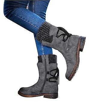 Herbst früh Winter flache Ferse Boot, Mode stricken Patchwork Stiefeletten