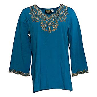 Bob Mackie Women's Top Embroidered Scalloped Neckline Knit Blue A310805