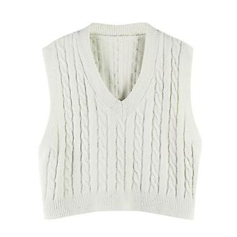 Autumn Solid Knitted Vest Korean Style Student V-neck Pullover Loose Tops