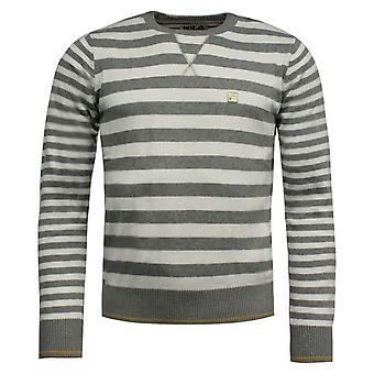 Fila Mens Pullover Jumper Crew Neck Casual Striped Sweater Grey U90376 100 A110A