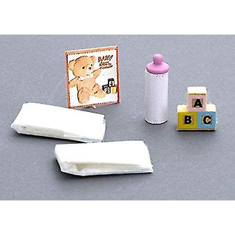 Dolls House Miniature 1:12 Scale Nursery Accessory Baby Items Set Nappies Bouteille