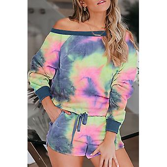 Multi-color Tie Dye Printed Long Sleeve Tops And Shorts