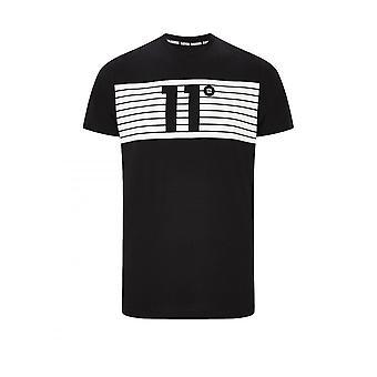 11 Degrees 11d Degrees Mens Placment Stripe Logo T Shirt Black