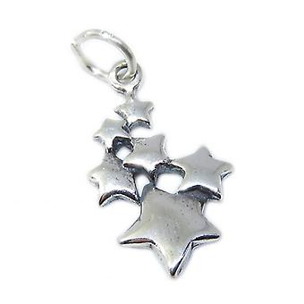 Stars Sterling Silver 2d Charm .925 X 1 Space & Star Charms - 8574