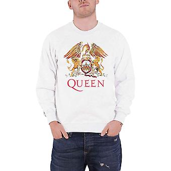 Queen Sweatshirt Classic Crest Band Logo new Official White Unisex