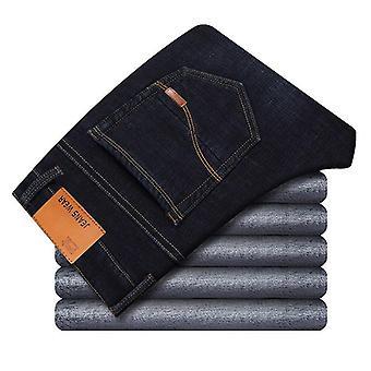 Men Winter Jeans Slim Fit Stretch Thick Velvet Casual Fleece Trousers